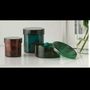 IKEA Samordna Set of 3 glass containers with lids for storage or organization.